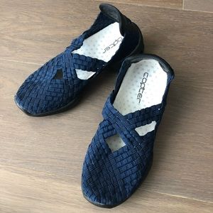 Shoes - elastic weave navy blue slip on shoes size 5